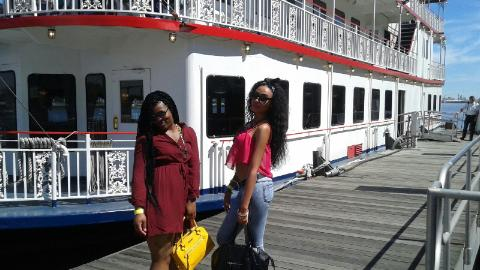 My friends before they entered the River Boat for the Savannah River and City Tour.