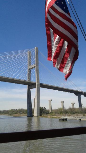 Bridge over The Savannah River captured during the boat tour.